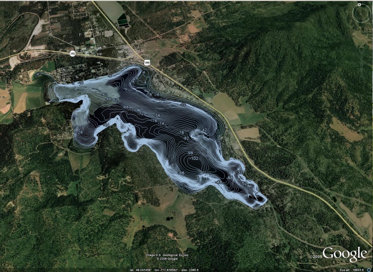 Contour Lake Map In Google Earth