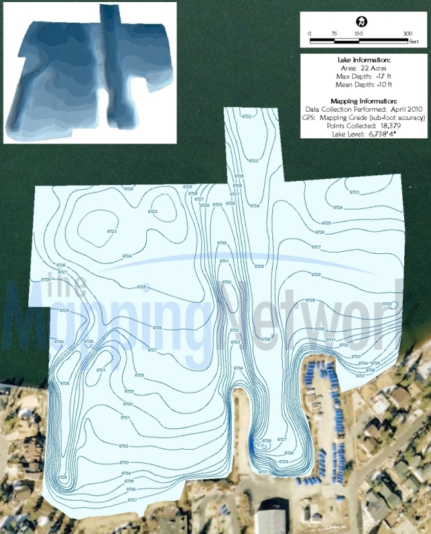 GPS Bathymetric Lake Map created by Aquatechnex and The Mapping Network for a marina in California