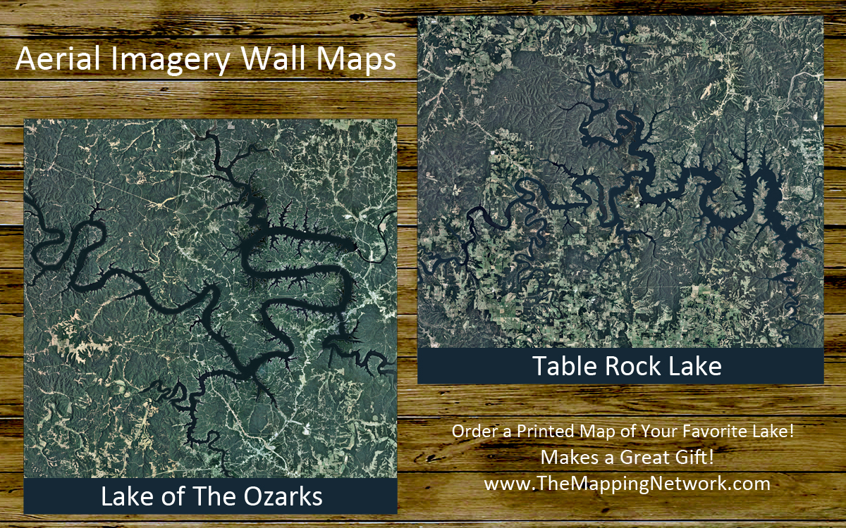 The Mapping Network Lake of the Ozarks Mile Marker Aerial Map