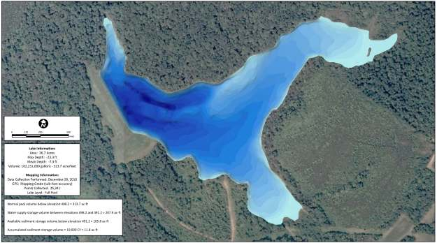 Professional lake map generated by Solitude Lake Management and The Mapping Network
