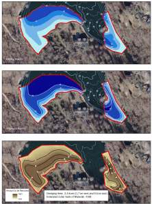 A series of maps showing the seleceted area for dredging. The current lake bathymetry (top) and the post-dredge contours (middle) are shown in blue shading. A cut-fill model (bottom) shows areas of cut needed to reach the goal.