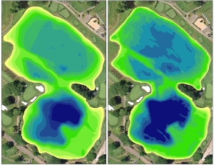 Color shaded depth map showing the pre-dredge (left) and post-dredge (right) lake depths