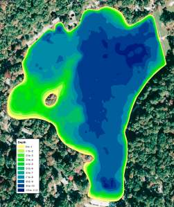 Color shaded depth map showing the current lake depths in one foot intervals.
