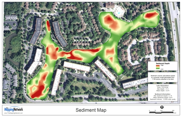 A color-shaded sediment map created by The Mapping Network.  Our automated sediment mapping system can precisely locate problems areas needing to be dredged.  Knowing exactly where to remove sediment not only saves the client money, but protects the envinoment by only distrurbing a small area.