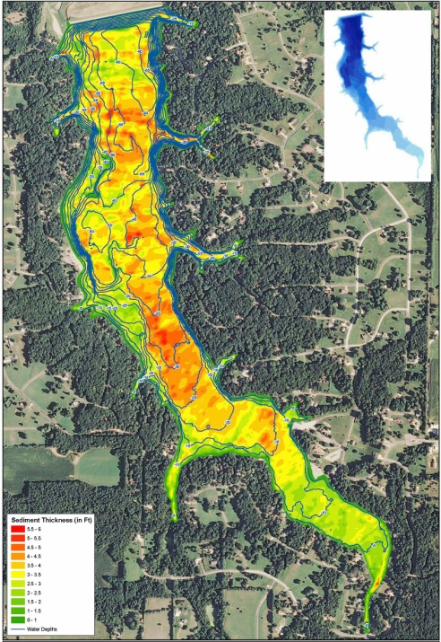 The Mapping Network surveyed the bottom of the lake including the sediment depths. This map shows the lake water depth as blue contours lines as well as a color shaded sediment thickness. This specialized technology allows the POA to easily locate problem areas.