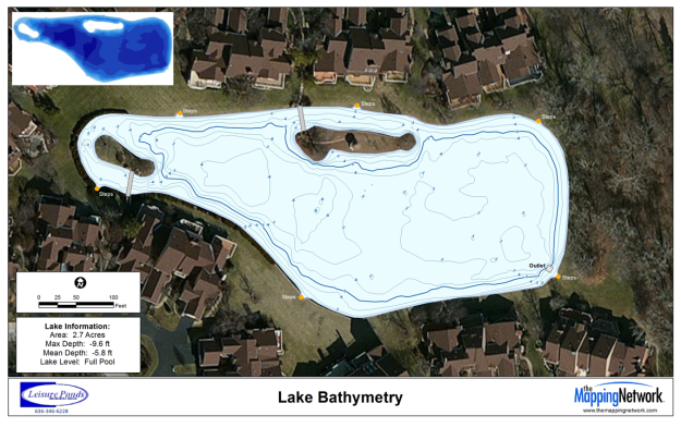 Contour map of a pond for a Home Owners Association in St. Louis, MO