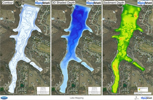 A lake surveyed by The Mapping Network included creating a contour and 3D shaded depth map of the current lake depths.  Also a sediment thickness map of the entire lake was generated.