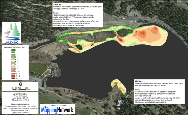 Map showing sediment thickness in the two inlets to the lake.