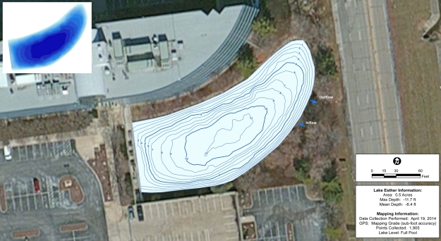 One foot Contour lines showing depth of the pond.  Inflow and Outflow are noted.