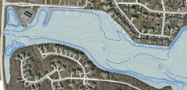 Water depths created from bathymetric survey