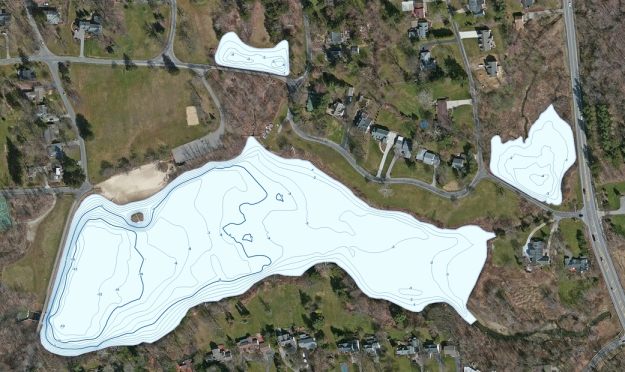 Contour map of water depths for main lake and two ponds