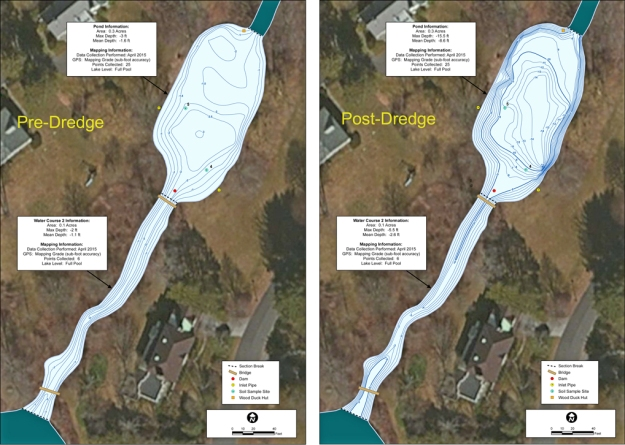 The map on the left shows the current water depths in the pond.  The map on the right shows what the pond will look like once the soft sediment is removed