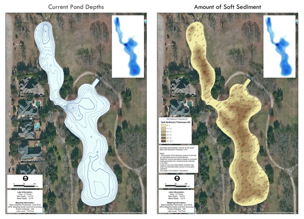 Current water depths (left) and sediment thickness (right).